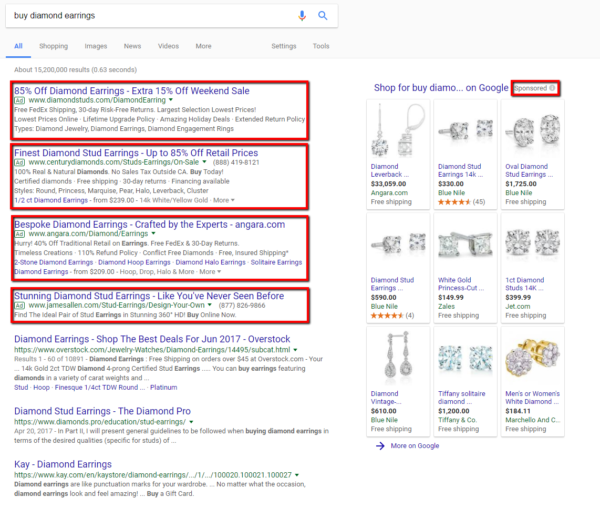 Google search engine results with AdWords highlighted.