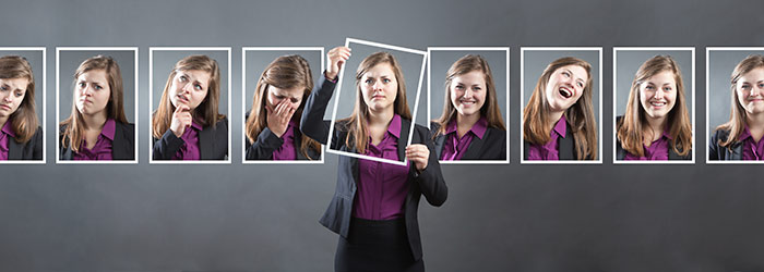 a woman shows a range of emotions