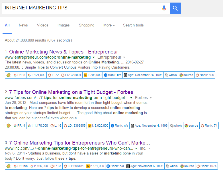 "SERPs result for the search ""internet marketing tips"""