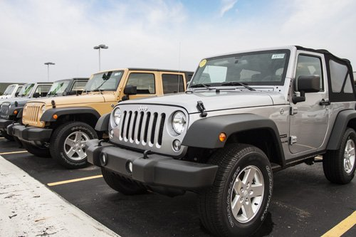 Jeeps parked in an auto dealerships lot in Adrian, Michigan
