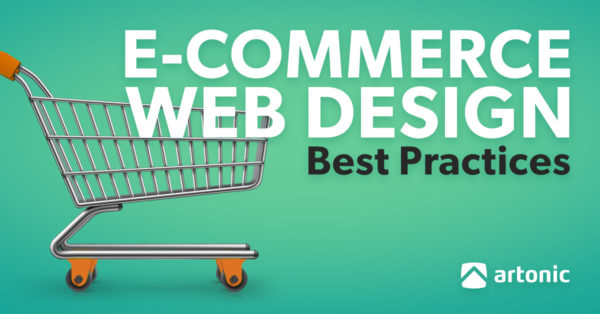 e-commerce web design best practices cover of green ebook with shopping cart graphic on it.