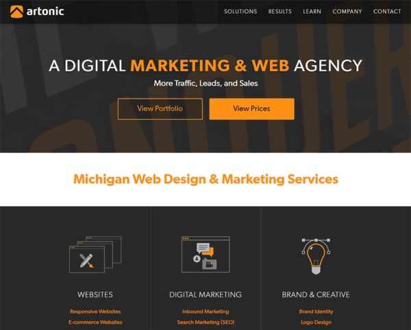 Homepage screenshot of Southeast Michigan digital marketing agency Artonic.