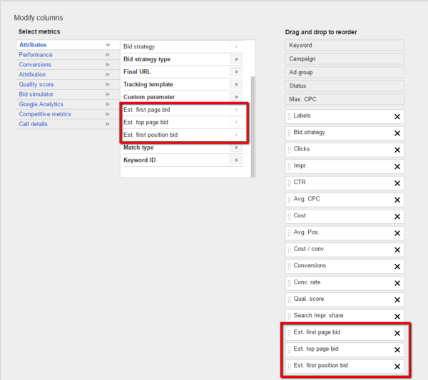 How to estimate your Google AdWords bids.