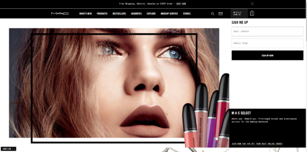 Live Chat is offered on MAC Cosmetic's website.