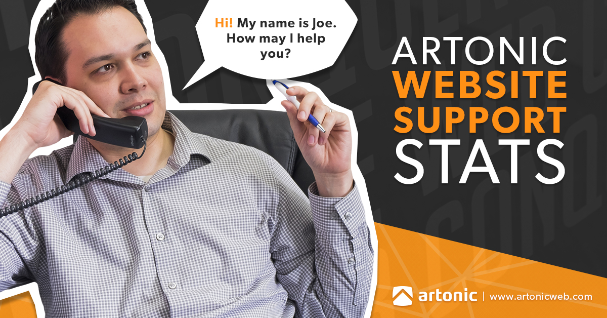 Website support stats for web development agency, Artonic
