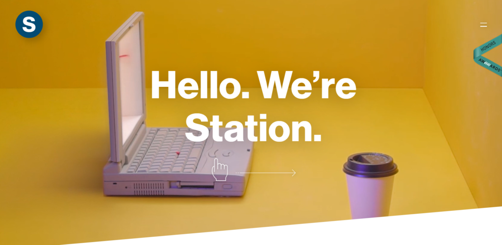 station a website uses 1960s color scheme with a yellow background