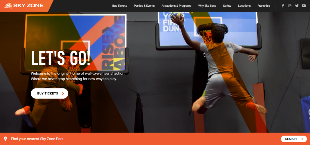 Sky Zone's super fun website banner uses colors from the '70s.