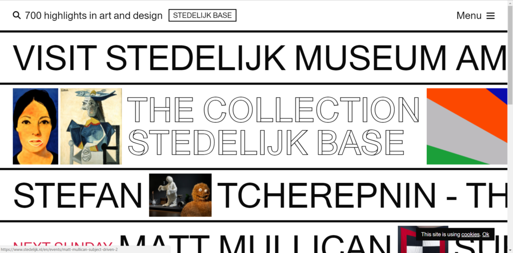 https://www.stedelijk.nl/en uses typography trend well