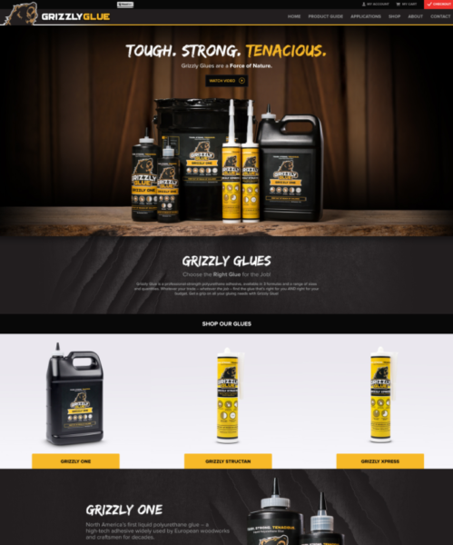 Website designed for Grizzly Glue in Michigan