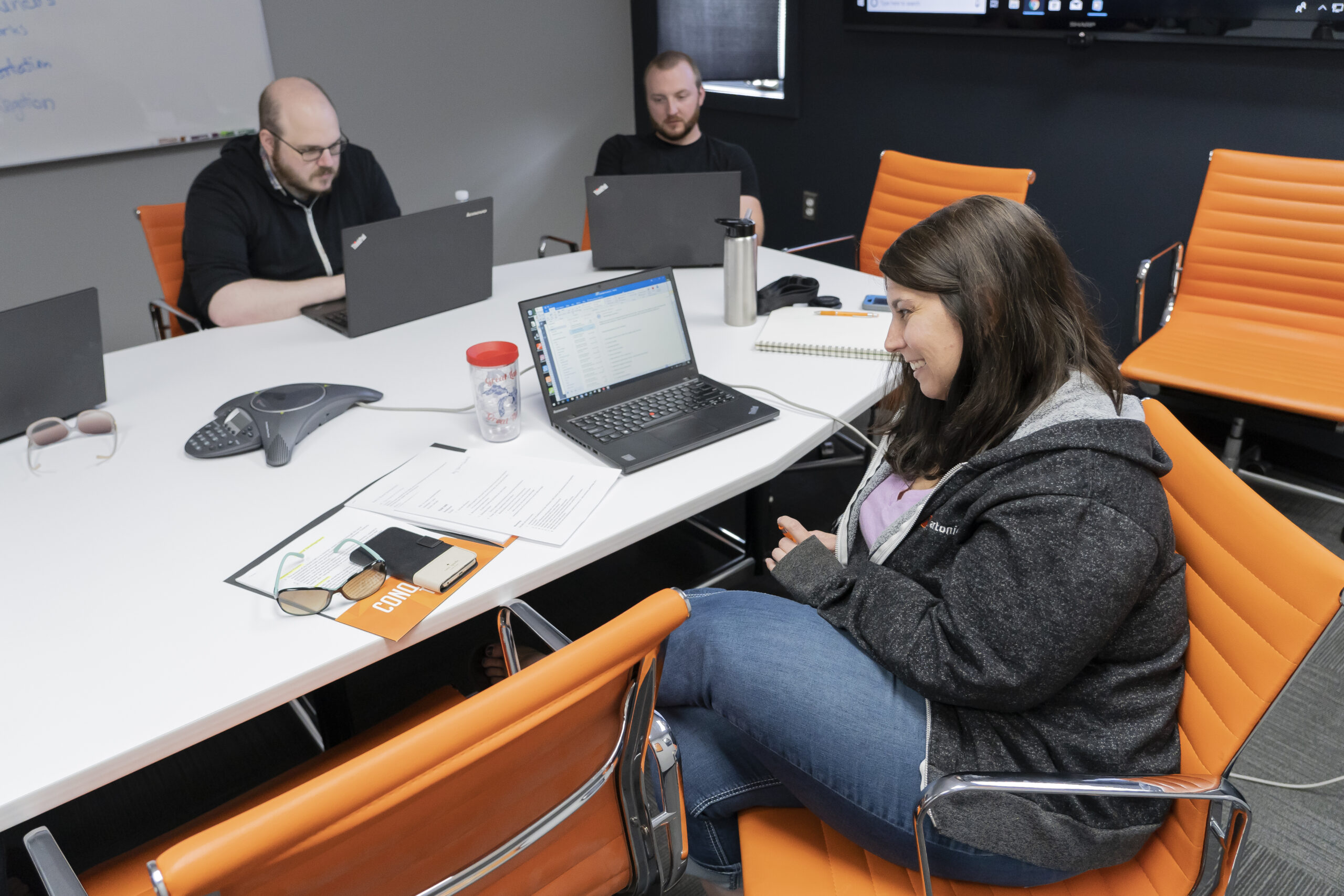 Angela, Andy, and Sean in a meeting at Artonic