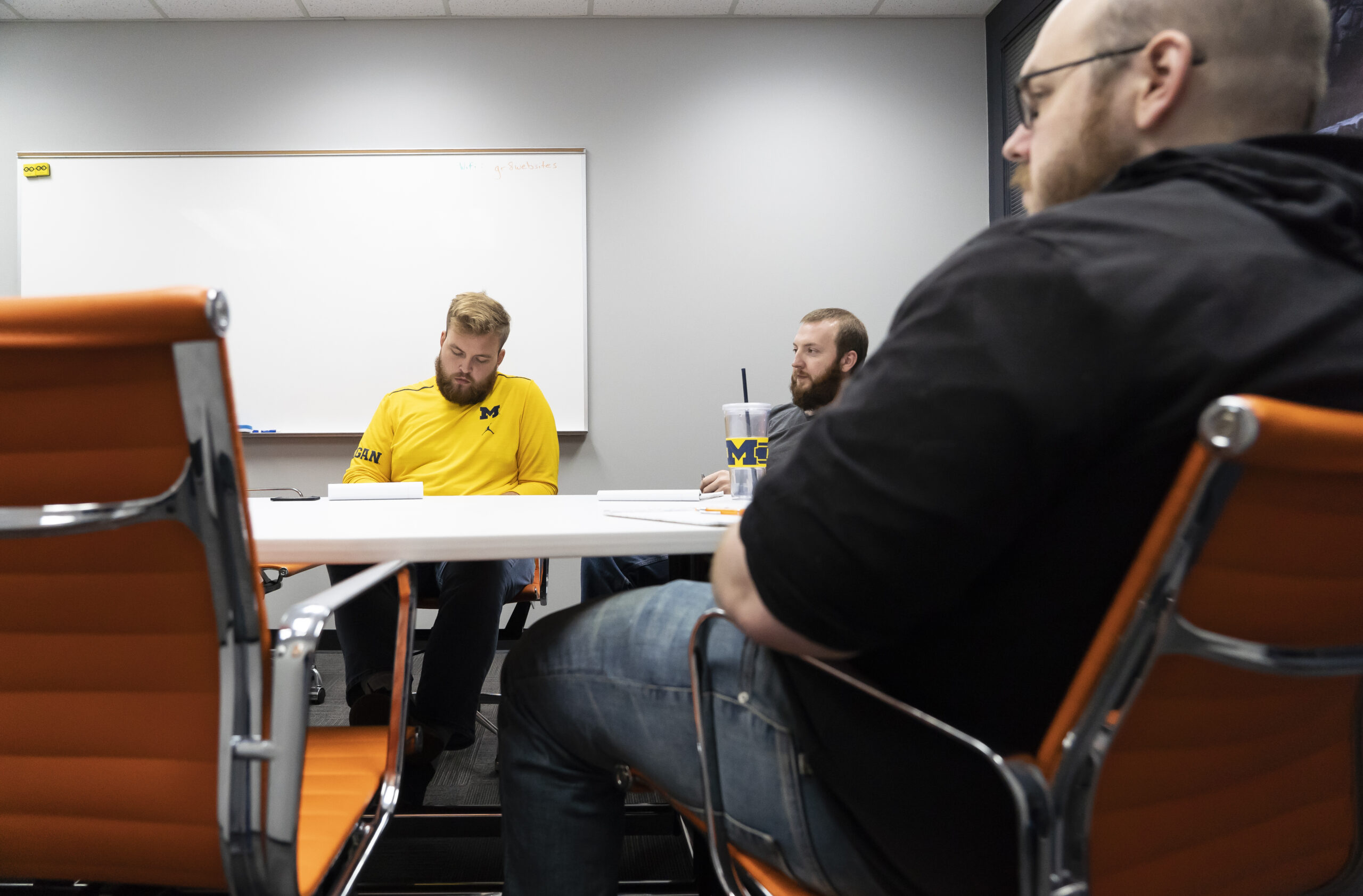 Chance, Sean, and Andy in the conference room