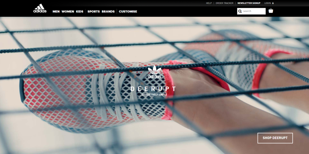 homepage banner of the adidas website shows a hero image.