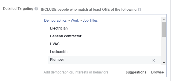 Example of Facebook Advertising's demographic targeting tools.