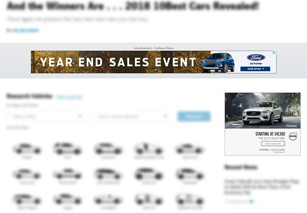 Two display ads on the Car and Driver website
