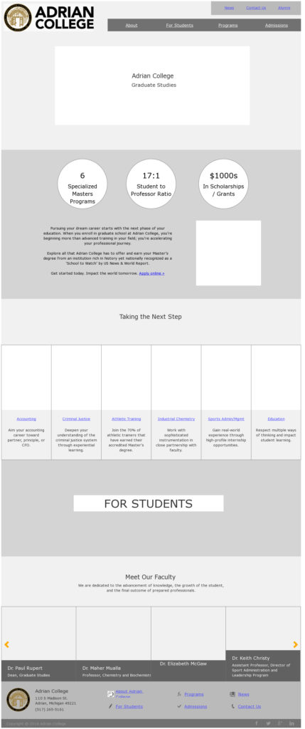 Example of a website prototype.