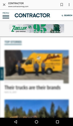 Screenshot of a mobile ad for Zoeller on ContractorMag.com