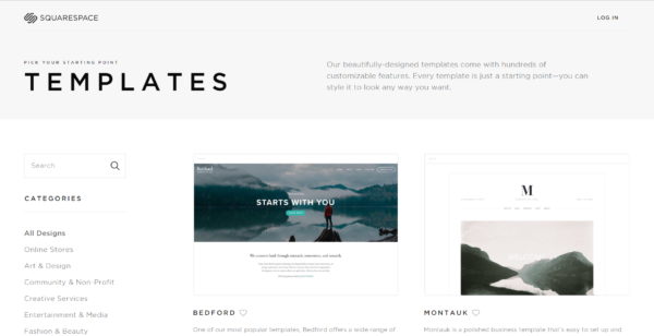 squarespace no cost website template