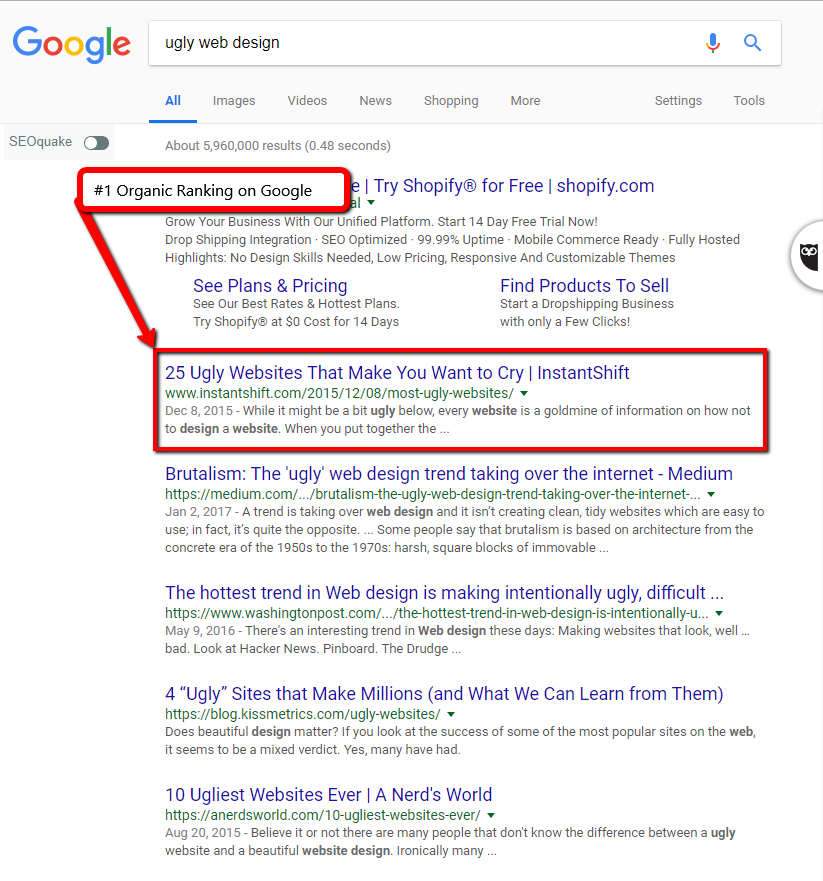 Screenshot of Google's search results.
