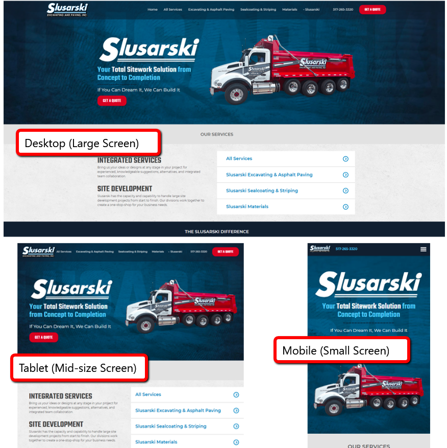 a good website design is responsive to screen size.