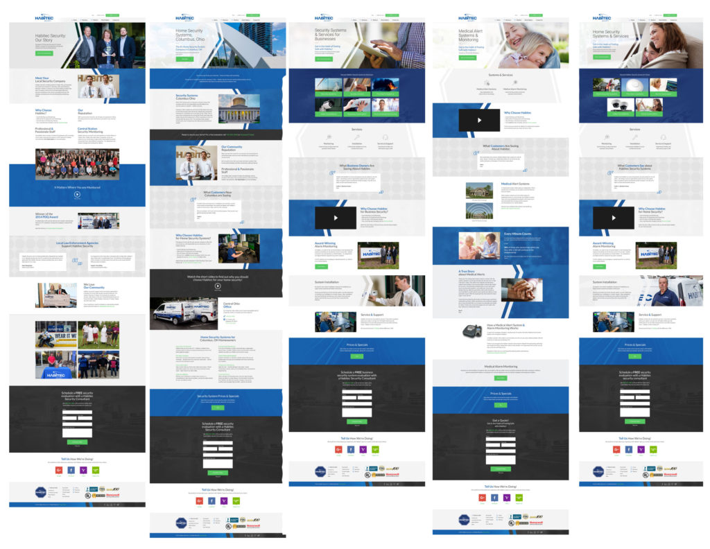 Multiple long scroll pages on the same website.