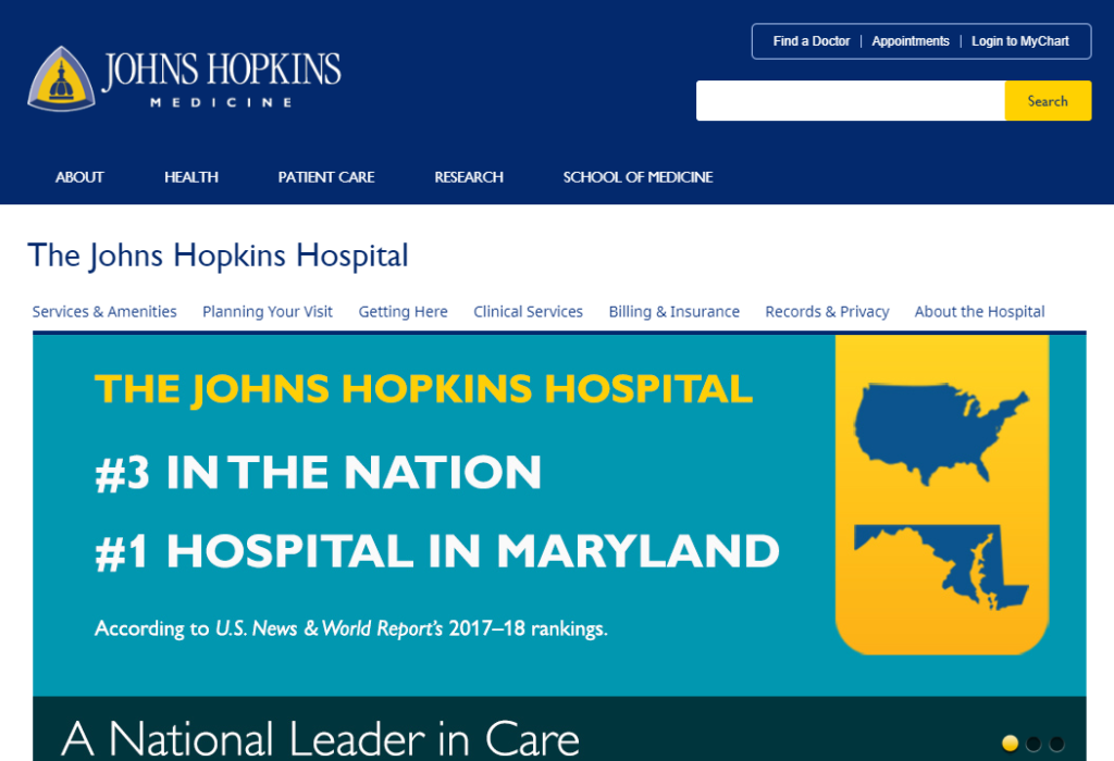 The Johns Hopkins website is blue and gold.