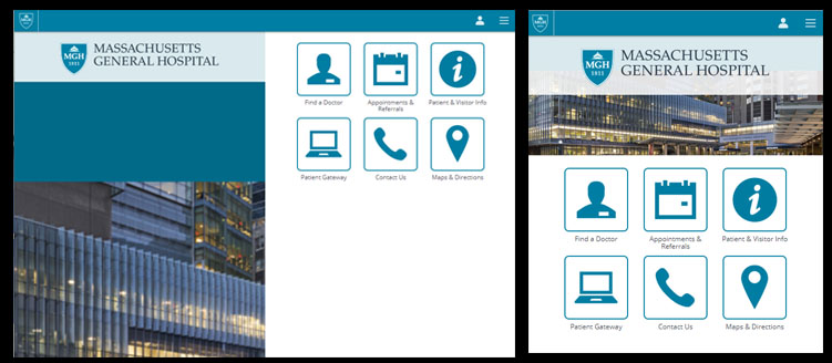 Massachusetts General Hospital offers a mobile-specific website.