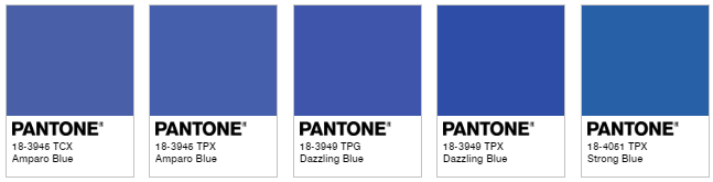 Pantone blues from the website's color finder.