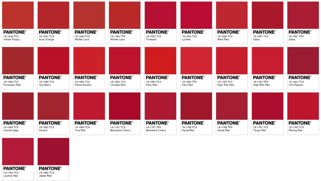 Chart of Pantone reds using the color finder.