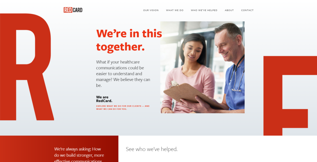 Homepage web design for Red Card, a medical communications manager.