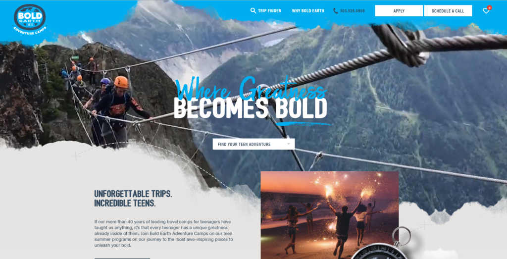 Bold Earth website design uses blue in its design.