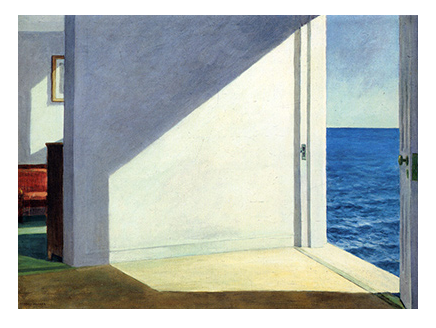 A door opens to the blue sky and blue ocean