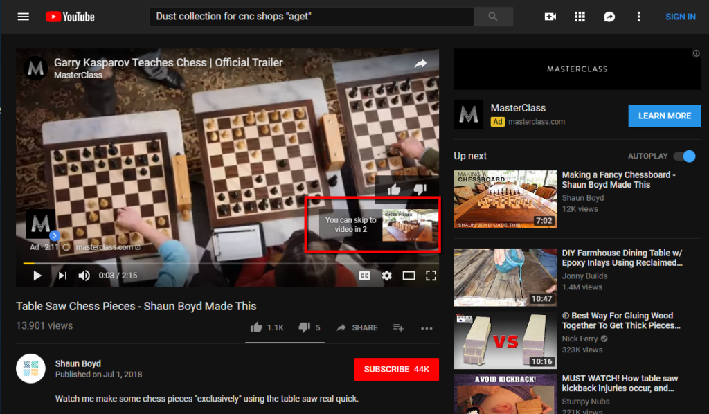 Ad on youtube