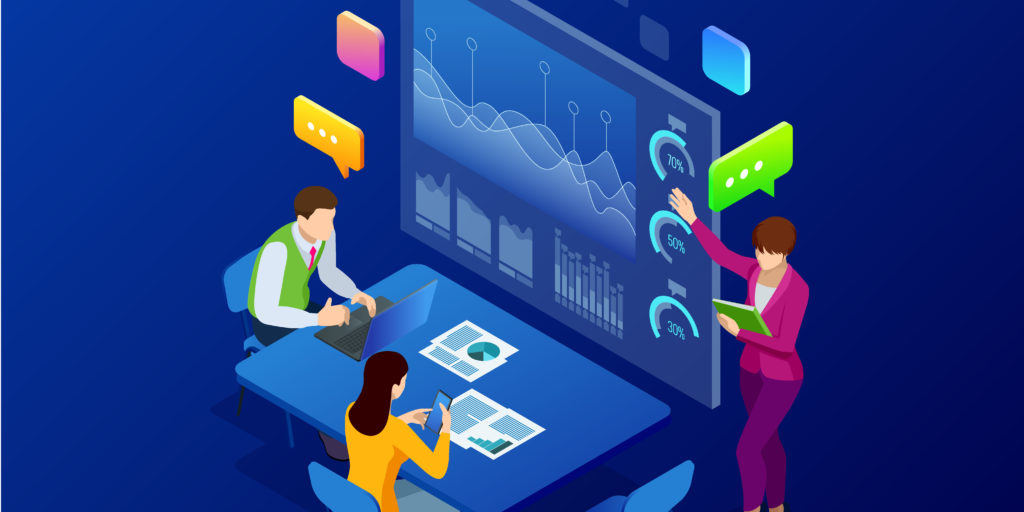 Isometric business analysis and planning, consulting, team work, project management, financial report and strategy concept. Unity and teamwork concept. Vector illustration