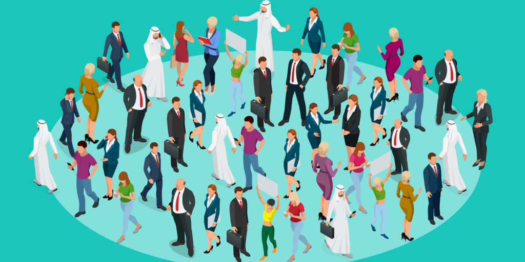 Society isometric background with people of different occupations. People meeting, discussing, planning, brainstorming at the blackboard.
