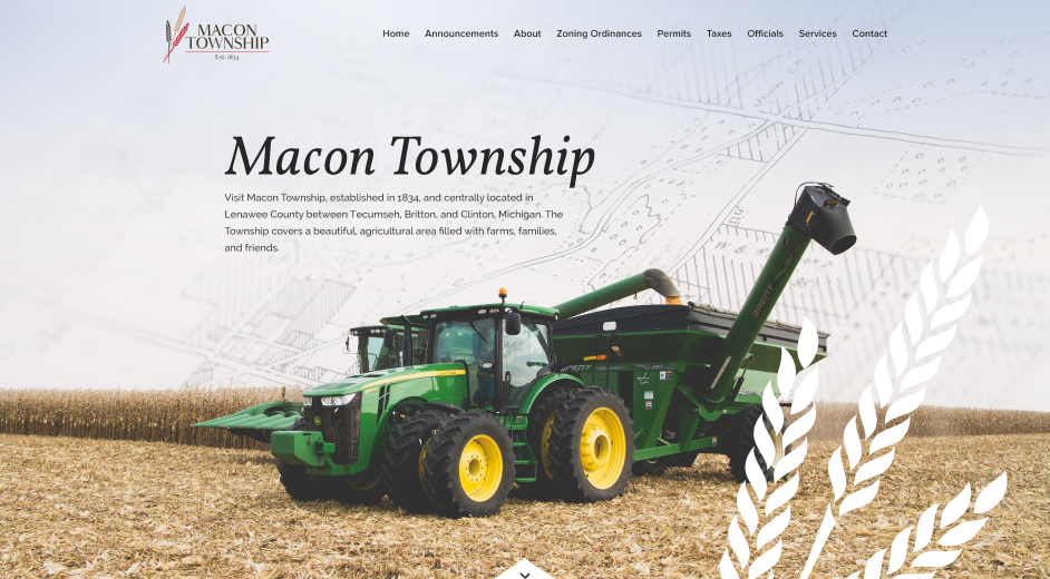 The Macon Township website is custom designed to reflect its unique community.
