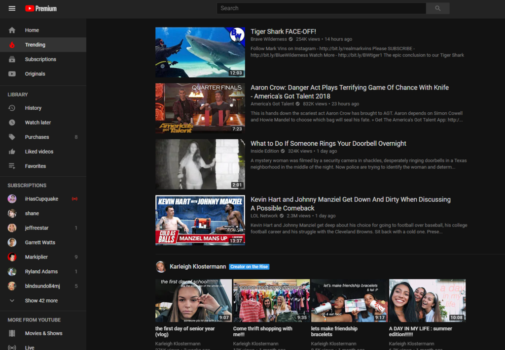 YouTube trending videos page.