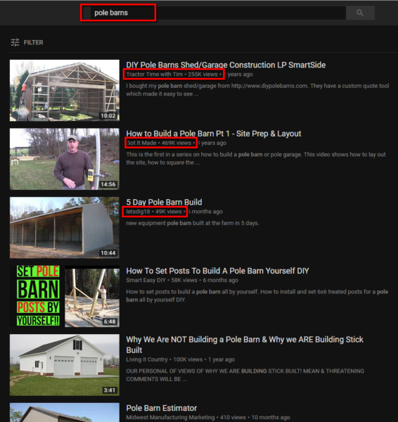 YouTube search results for the term pole barns.