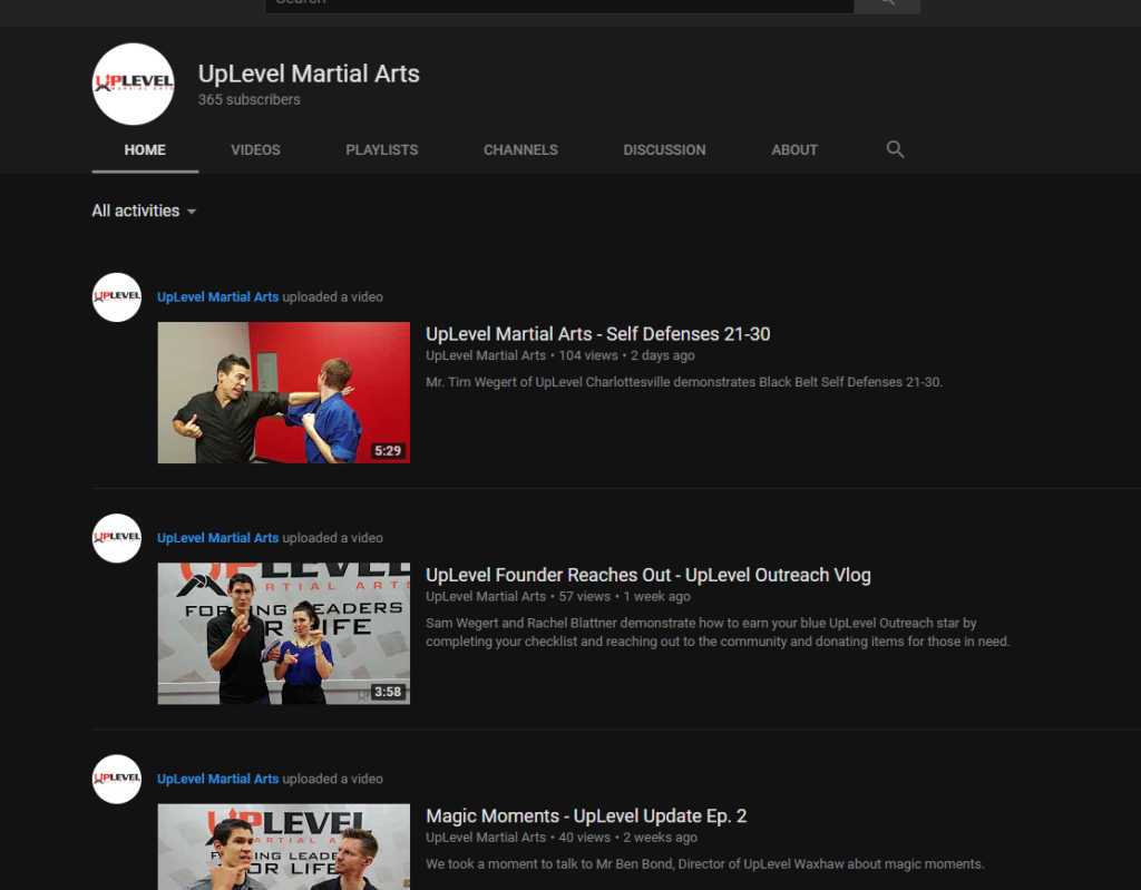 UpLevel Matial Arts Studio uses YouTube for Business