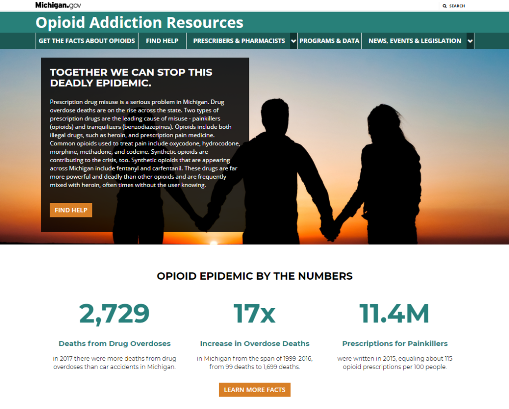 Michigan.gov's new website banner for opioid addiction.