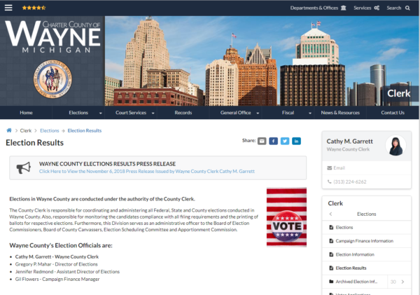 Wayne County Website experiences technical issues.