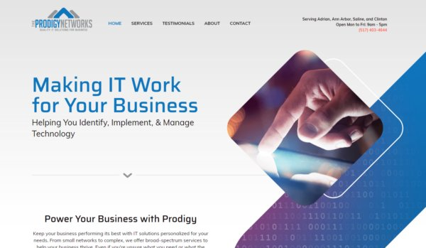 Homepage of Prodigy Networks in Adrian