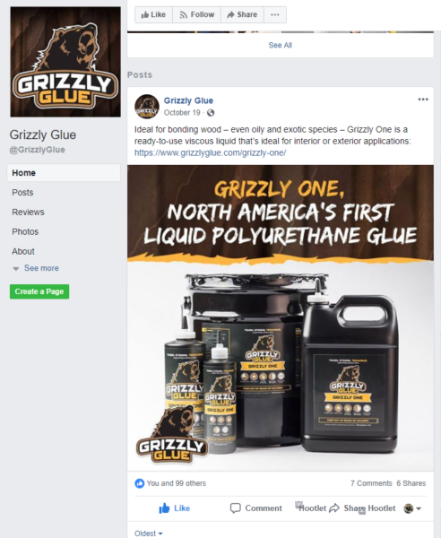 Grizzly Glue Facebook post