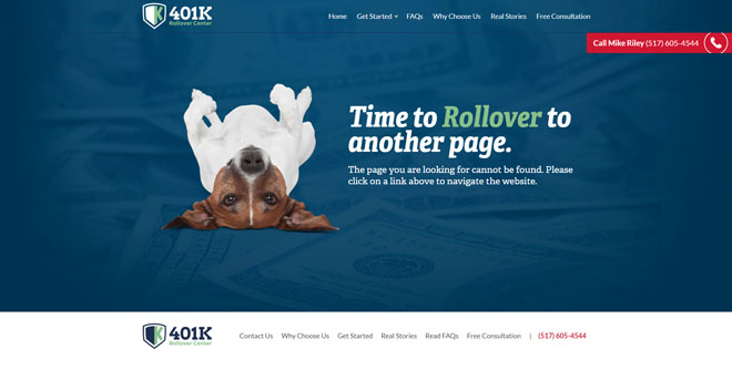 401k Rollover Center 404 website error page design