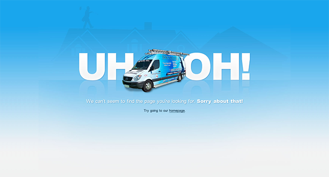 Doctor Flue Michigan 404 website error page design
