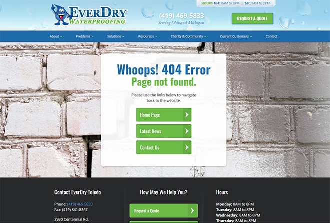 EverDry Waterproofing 404 website error page design