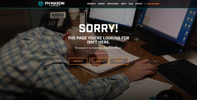 FH Mason 404 error website page design