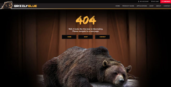 Grizzly Glue 404 website page design
