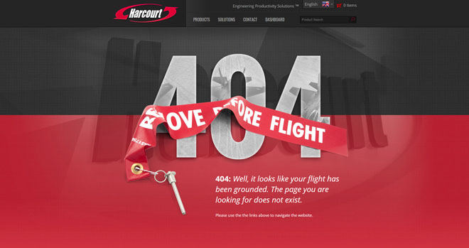 Harcourt 404 website page design