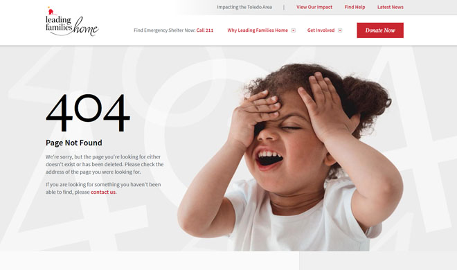 Leading Families Home 404 website page design