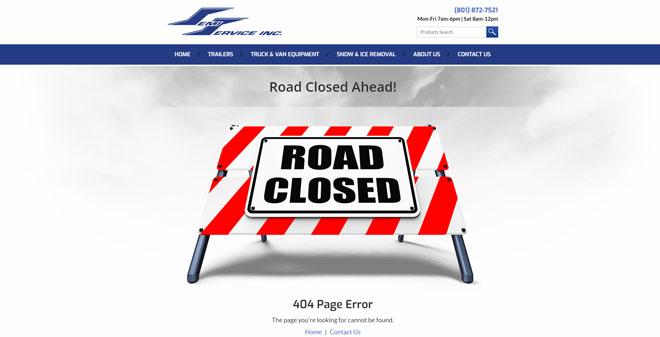 Semi Service 404 website page design